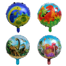 4pcs 18 inch Round Cartoon Dinosaur Foil Balloons Birthday Decoration Kids Toys Party Baby Shower Decor Helium Ballons