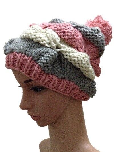 BomHCS Autumn winter flowered hat pimple 100 handmade knitted cap street fashion beanies outdoor ski hats