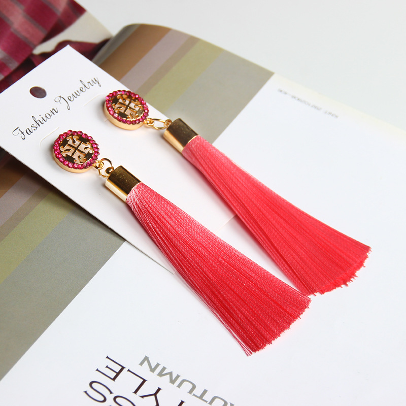 Exaggerated Rhinestone Long Tassel Earrings 2017 New Arrival Fashion Brincos Bijoux Crystal Dangle Earrings Women's Jewelry 9