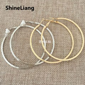 Earring Wholesale shiny square tube big circle earrings jewelry fashion lady ear ring  earrings without pierced ears sister