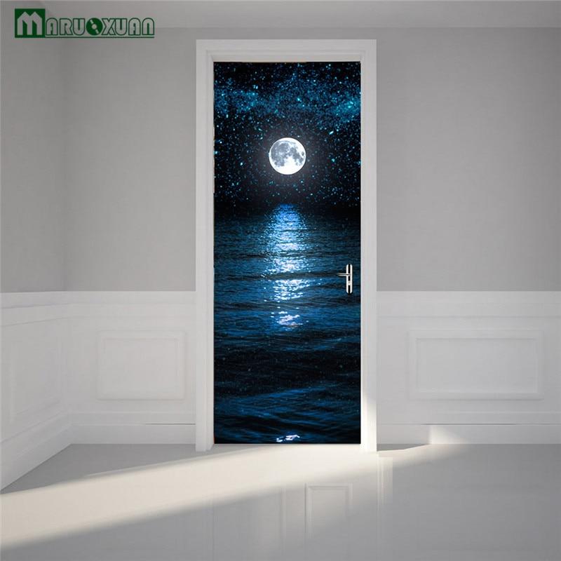 Maruoxuan 77X200cm 3D Door Sticker Moon Star Door Poster Waterproof Stickers Bedroom Diy Home Decor Art Mural Waterproof Sticker-in Wall Stickers from Home ... & Maruoxuan 77X200cm 3D Door Sticker Moon Star Door Poster Waterproof ...
