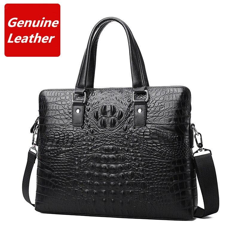 Briefcase Handbags Casual Men Luxury First-Layer Alligator-Pattern