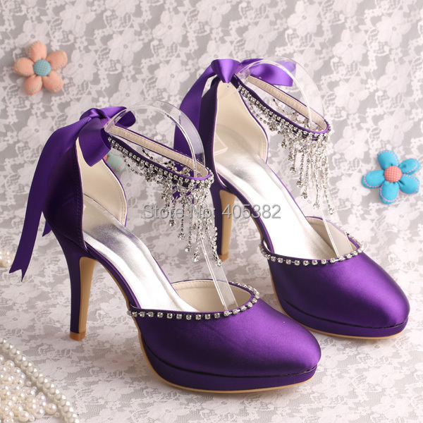 No Heel Wedding Shoes: Wedopus Handmade Party High Heel Wedding Purple Shoes