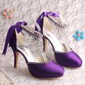 Wedopus Handmade Party High Heel Wedding Purple Shoes Bridal Crystal Chain