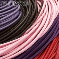 Stitched Lamb Leather Cord With Cotton Core Sutural Leather For Bracelet And Necklace Jewelry Making Leather 3mm 30M/Roll DIRCO