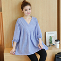 2017 Korean Maxi Maternity Blouse Shirts Clothes Pregnancy Wear Tops Tees Clothing Casual Cotton V Neck Shirt For Pregnant Women