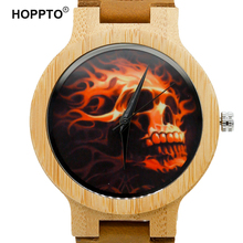 HOPPTO Brand 2017 Pirate Skull Quartz Men Watch Fashion Casual Wooden Bamboo Watch Real Cowhide Leather Strap Male Relogio Gift