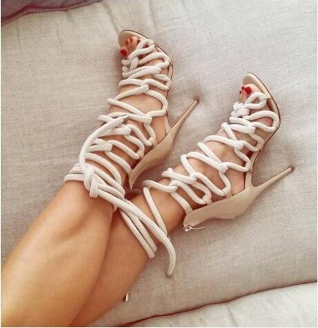 2017 New Fashion Women White Blue Cross Lace Up Cuts Out Gladiator Zip Back Thin Heels High Heel Dress Sandals Big Size 43 Party new 2017 hot selling fashion women luxury sexy black gladiator cuts out open toe lace up back 100 mm phaedra peacock sandals