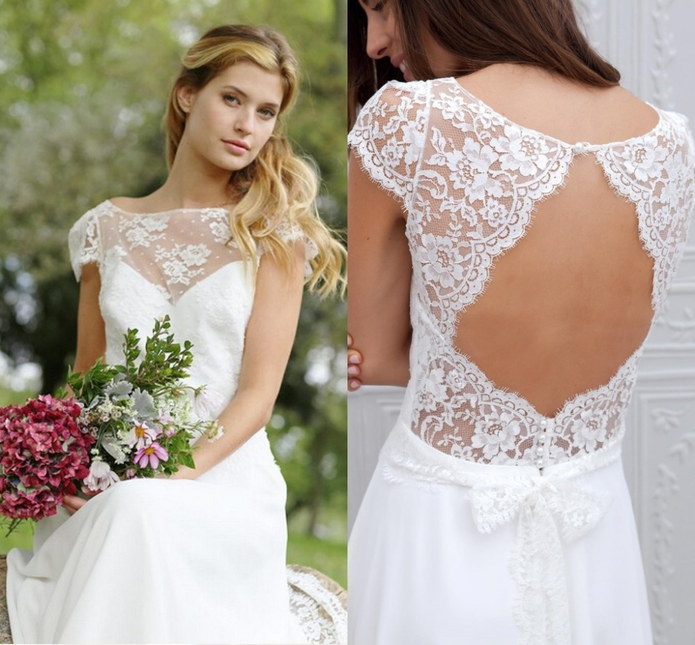sexy open back beach lace wedding dresses 2015 short sleeve simple white bridal gowns vestidos de