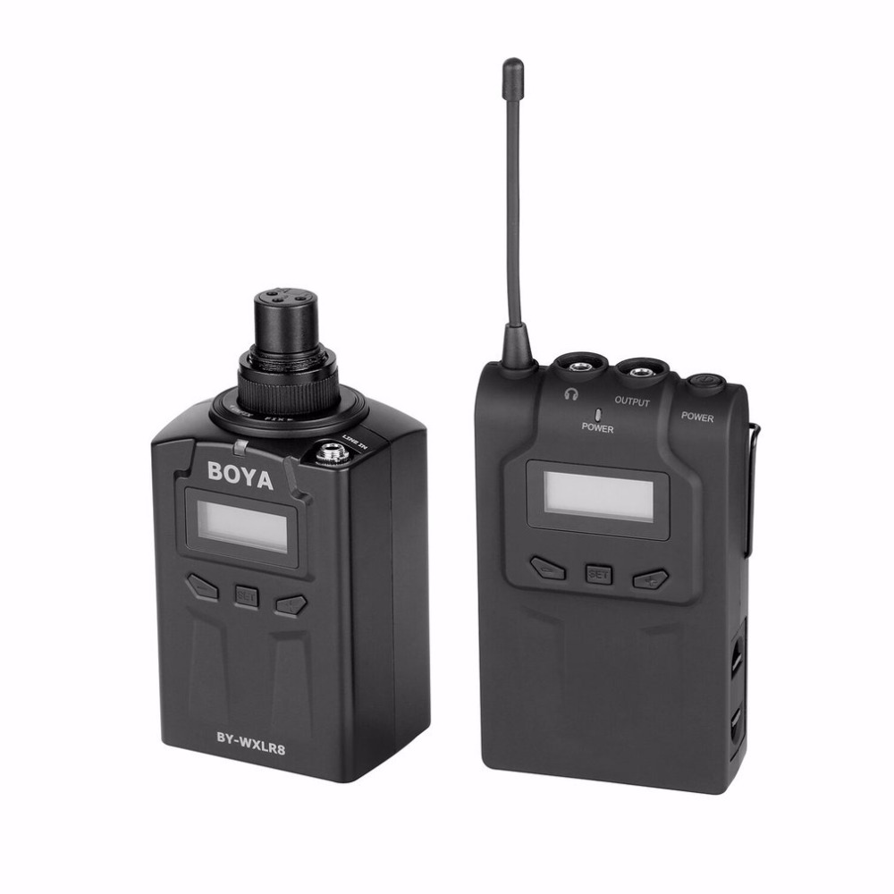 BOYA BY-WXLR8 Professional Wireless Handheld Microphone 48 UHF Dual Channels Transmitter System for Interview Party ur6s professional uhf karaoke wireless microphone system 2 channels cordless handheld mic mike for stage speech ktv 80m distance