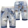 4027 becerro de longitud shorts vaqueros suaves pantalones cortos niños pantalones cortos de verano niños de los niños de color azul claro 70% longitud agujero verano