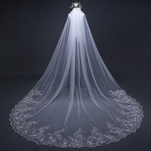 3M Single Layer Wedding Veils Lace Applique Edges Elbow Length Tulle Bridal Veil with Comb 2019