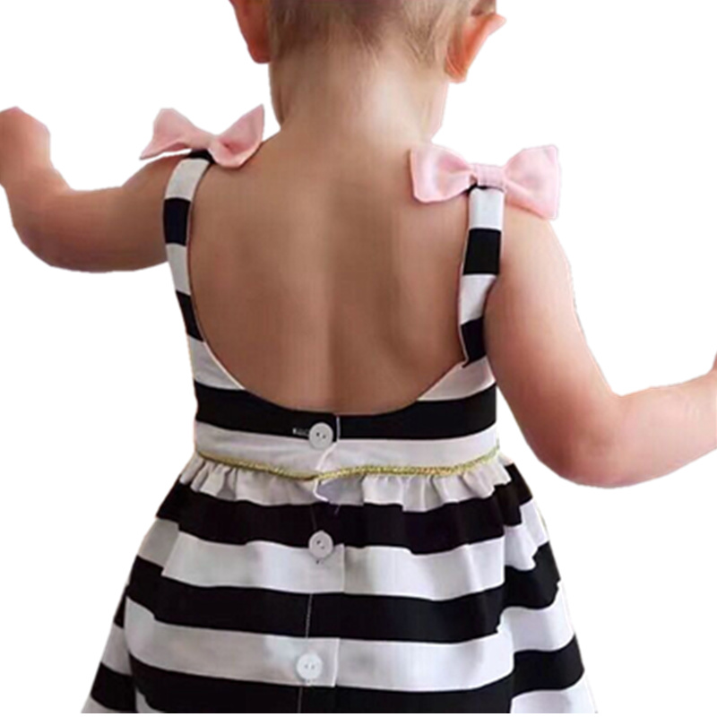 Baby Girl Dress Summer 2018 Black and White Stripe Pink Bow Sleeveless Dresses Infant Girls Dress Party Vestido Kids Clothes