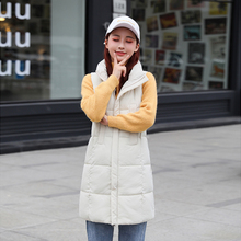 br Winter Vest Chalecos Para Mujer Jacket Women Long New Korean Stand-up Collar Cotton Gilet Femme
