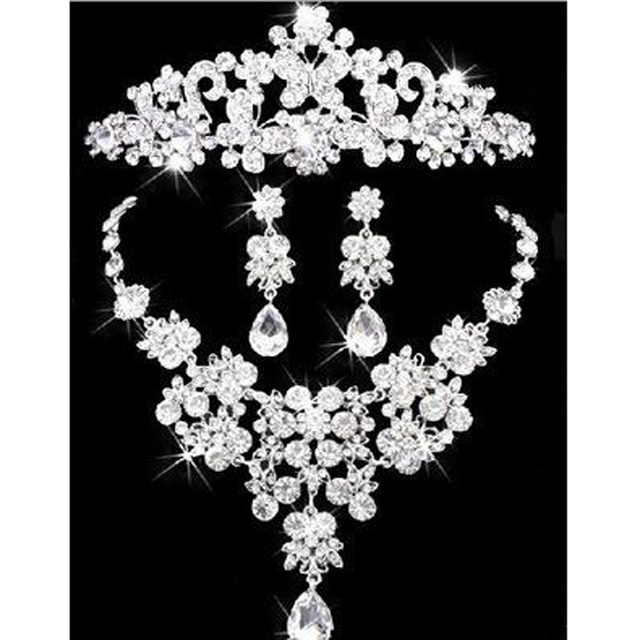 Silver Plated Crystal Butterfly Bridal Jewelry Sets Rhinestone