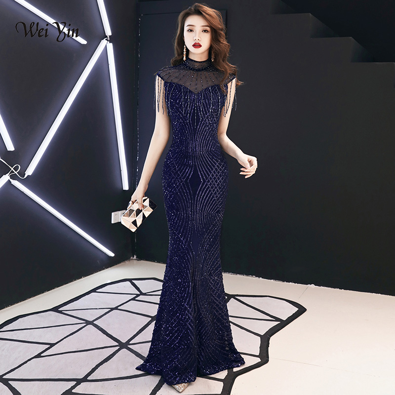 weiyin Navy Blue Sequined Mermaid   Evening     Dresses   See Through High Neck 2019 Floor Length Long Party   Dress   for Women WY1174