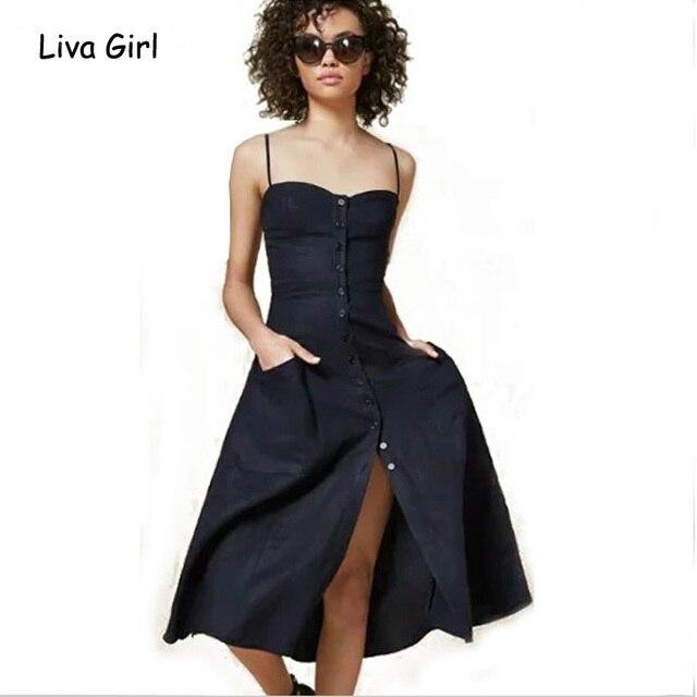 3cf9b65e857 2016 Summer Woman Elegant Dress High Waist Button Slite Strappy Ukraine  Office Beach Reformation Maxi Dress Vestido De Festa