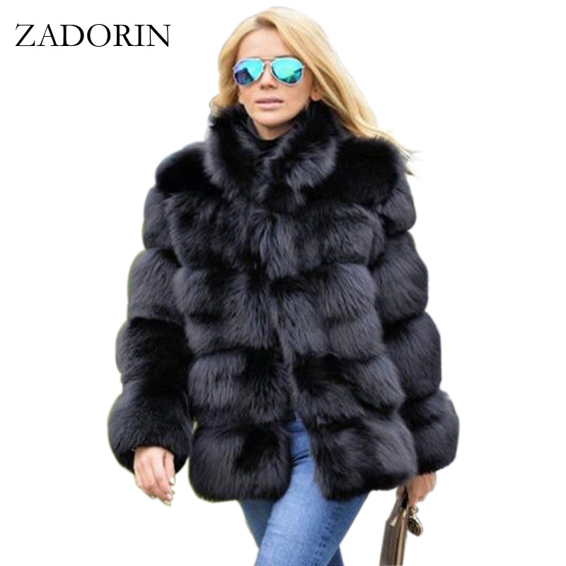 ZADORIN 2019 New Winter Coat Women Faux Fox Fur Coat Plus Size Women Stand Collar Long Sleeve Faux Fur Jacket Fur Gilet Fourrure