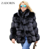 ZADORIN 2019 New Winter Coat Women Faux Fox Fur Coat Plus Size Women Stand Collar Long Sleeve Faux Fur Jacket Fur gilet fourrure