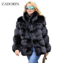 ZADORIN abrigo de invierno de lujo para mujer, abrigo de piel de zorro de imitación de talla grande, cuello de piel con soporte, chaqueta de piel sintética de manga larga, fourrure