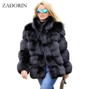 Image 1 - ZADORIN אופנה חורף מעיל נשים יוקרה פו שועל פרווה מעיל בתוספת גודל נשים לעמוד פרווה צווארון ארוך שרוול פו פרווה מעיל fourrure