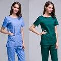 Verão mulheres médicos do hospital uniformes clothing clinicos scrubs uniformes de enfermagem enfermeira cirúrgica dental clinic salão de beleza terno
