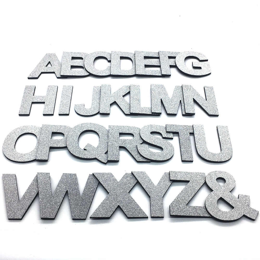 3D Shine Silver Capital English Letters Wall Sticker PVC Foam Board Alphabet Wall Decals Festival Party Decoration DIY Art Mural