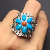 On Sale Real S925 Solid Silvery 925 Sterling Silver Natural Turquoise Ring For Women Fine Rings