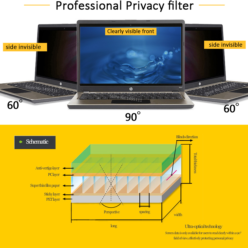 14 inch (310mm*174mm) Privacy Filter For 16:9 Laptop Notebook Anti-glare Screen protector Protective film 2
