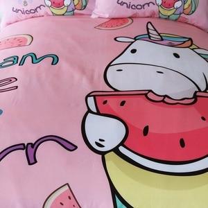 Image 3 - Beddingoutletユニコーン寝具セット漫画布団カバーと枕カバー子供のためのスイカベッドセットピンクガーリーホームテキスタイル3個