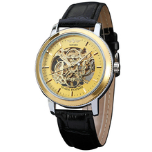 2016 WINNER Unique Fashion Design Women Hand-wind Mechanical Watch Skeleton Dial Leather Strap Wristwatch For Ladies
