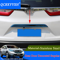 Stainless Steel Trunk Rear Protector Trim Cover Rear Bumper Protector Sill Car Tail Door Trim For Honda CRV CR V 2017 2018