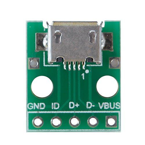 10pcs Micro USB To DIP 2.54mm Adapter Connector Module Board Panel Female 5-Pin Pinboard 2.54mm Micro USB PCB Type Parts
