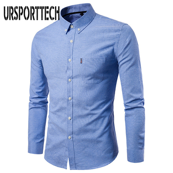 New Men Long Sleeve Solid Oxford Dress Shirt with Left Chest Pocket High-quality Male Casual Regular-fit Tops Button Down Shirts button down long sleeve pocket shirt