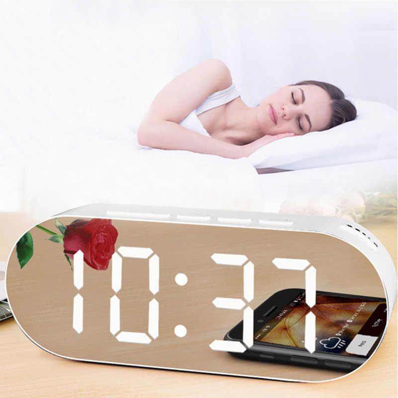 מעורר דיגיטלי שעון דיגיטלי מראה משטח דימר גדול תצוגת LED עם USB הכפול מטען יציאות נודניק וטיימר כיבוי שינה