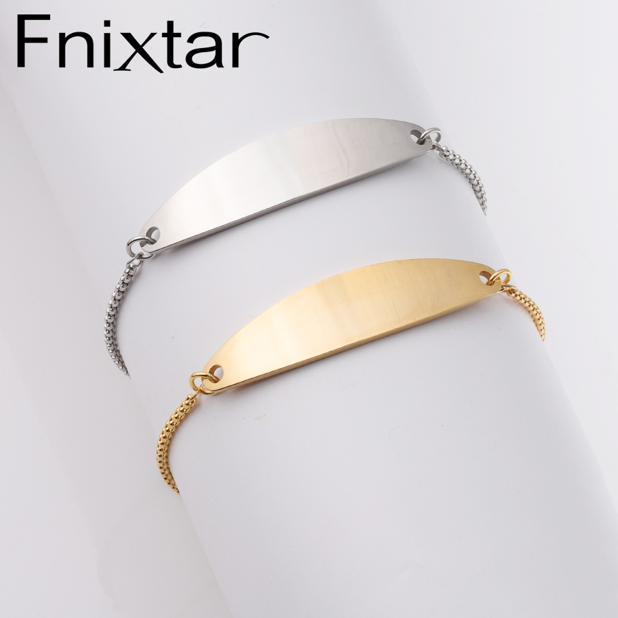 Fnixtar Mirror Polishe Stainless Steel DIY Engraved Bend Bar Bracelet Adjustable Slider Box Chain Bracelet 50pcs