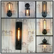 Sample order of edison wall lamp vintage black finished iron cage wall lamp for dinning room bed room study CE/UL CERTIFICATE
