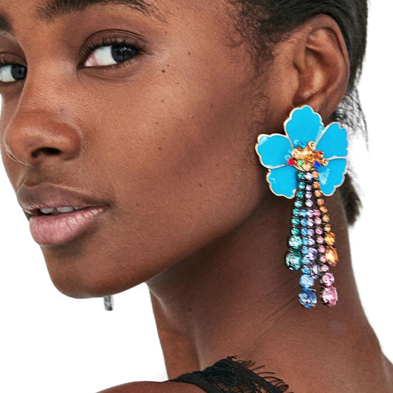 Jujia 6 Colors Flower Crystal Dangle Earrings Trend Fashion Women Vintage Jewelry Statement For