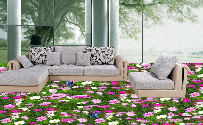 ФОТО 3 d flooring High-end custom pvc wall sticker 3 d Hd flowers green grass painting 3d room flooring photo wallpaper for walls 3d