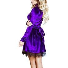 2018 Autumn Newly Style Women Lace Velvet Dress Halter Deep V-Neck Long Sleeve Lace Dress Sexy Casual Mini Velour Dress Vestidos