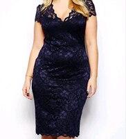 2016 Summer Woman Lace Dress Plus Size V Vest Black Work Formal Dresses Elegant Fashionable Large