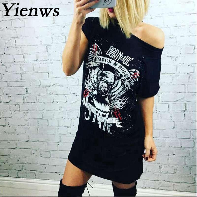 Yienws Impresión de La Moda Vestido de Verano 2017 Mujeres Sueltan el Rock And R