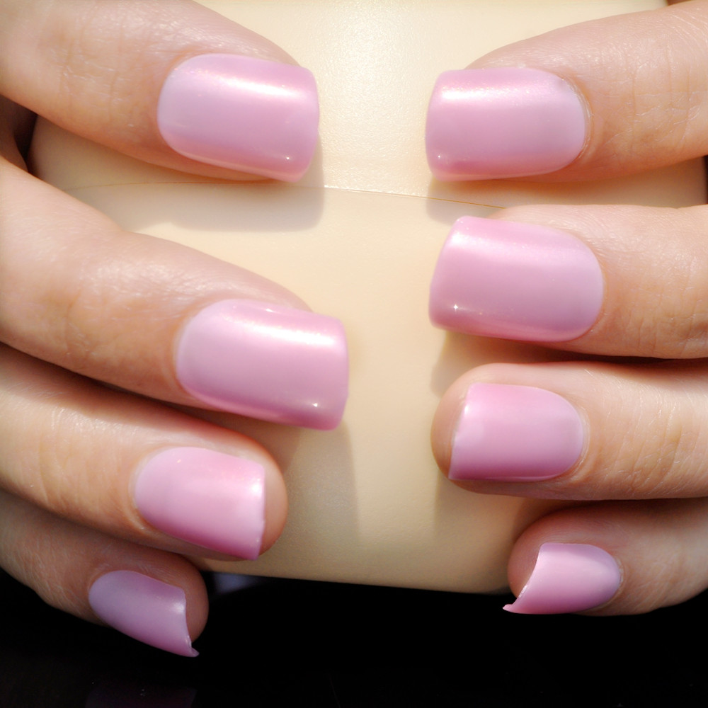 Lovely Candy Color Flat Fake Nail Light Pink Finger Nails ...