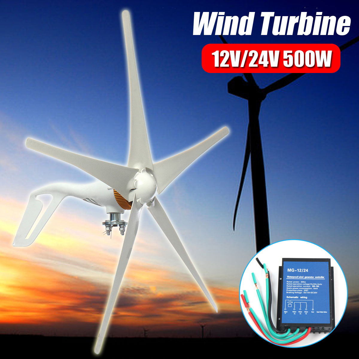 500W Wind Turbines 5 Blades Miniature Horizontal Wind Turbines Free Energy Generator With Controller Fit for Residential Home цена