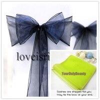 20 Colors Chooses 50pcs 8 (20cm) W x 108 (275cm) L Hot saling Navy Blue Organza Sash Chair Bow DIY Wedding Home Banquet Decor