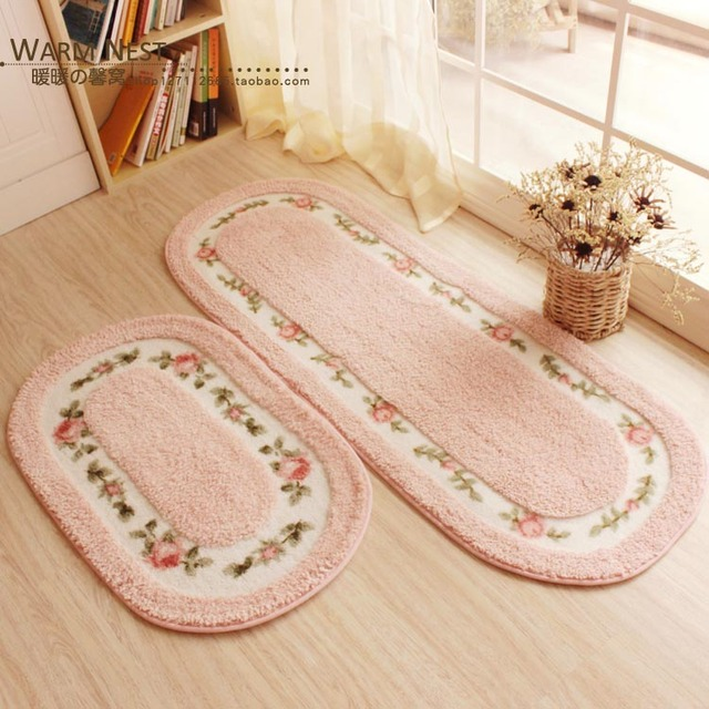 Floral Print Coral Fleece Door mat Non-slip Floor Mat Hallway kitchen Living Room Carpet Mats Tapis Pastoral