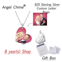 Stainless Steel Personalized Heart Color Photo&Text Necklace Adjustable 16 20 inch