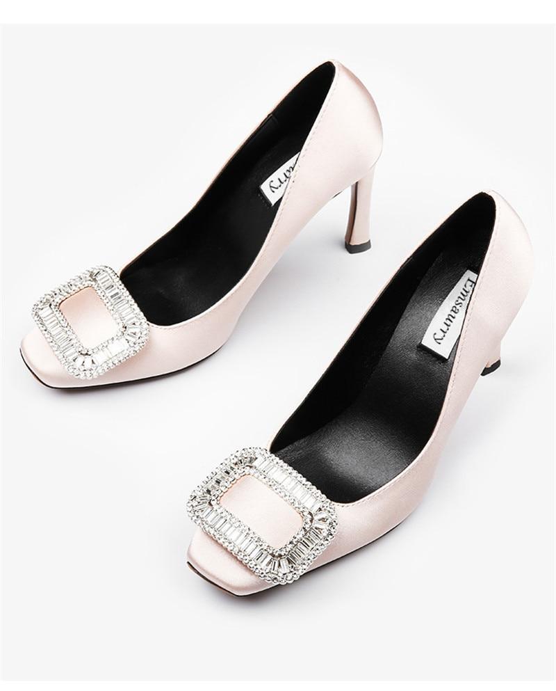 De Mariage Hauts Peu Champagne Cristal Profonde Boucle Rouge Soirée red Orteil Talons Zapatos black Carré Soie Mince Chaussures Mujer gwCfxtCq