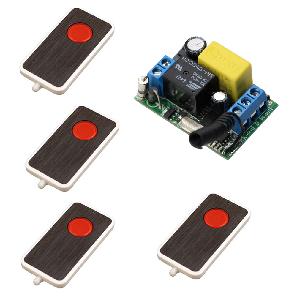 AC 220V 10A 1 Channel Wireless Relay Remote Control Switch RF Receiver 4Transmitters LED Light Lamp Remote ON OFF Push Button 220v ac 10a relay receiver transmitter light lamp led remote control switch power wireless on off key switch lock unlock 315433