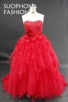 Robe De Mariee Appliques Lace Red Wedding Dress 2017 Ball Gown Wedding Dress Plus Size Vestido